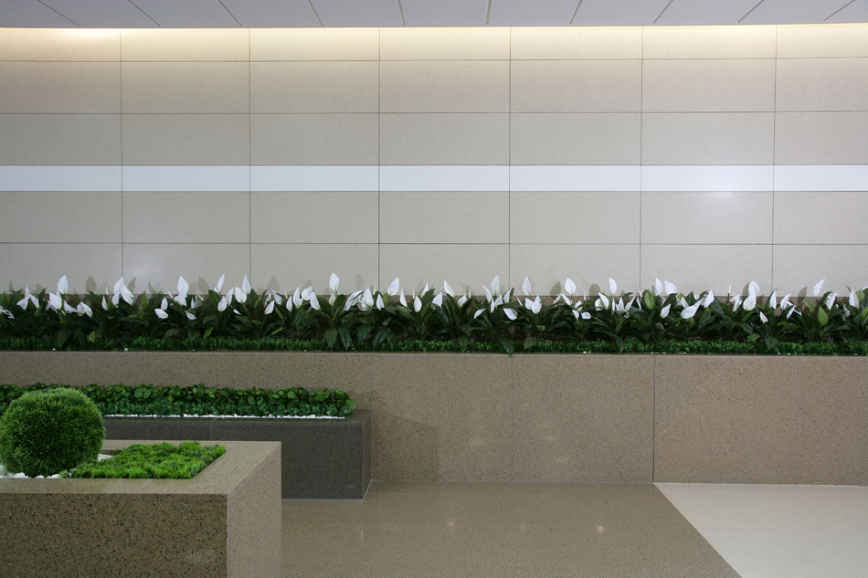 Lobby Wall Covering, Floor Bench
